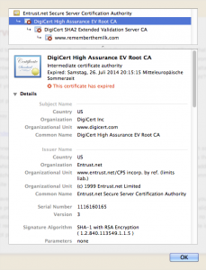 DigiCert High Assurance EV Root CA: This certificate has expired