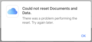 Apple iCloud Web Could not reset Documents and Data