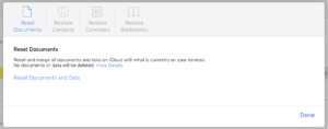Apple iCloud Web Reset Documents and Data