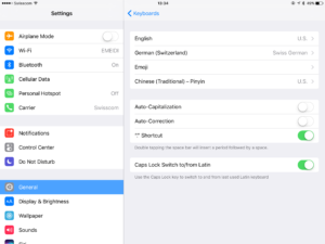 iOS 10 General Settings Keyboard Hardware Keyboard Auto-Correction